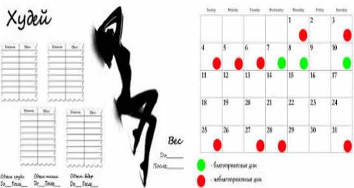 Календарь похудения